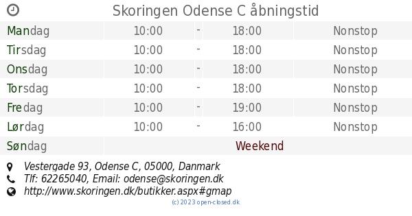 c3b7ae27341 Skoringen Odense C åbningstid, Vestergade 93