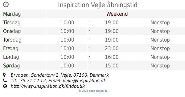 inspiration vejle Inspiration Vejle åbningstid, Bryggen, Søndertorv 2 inspiration vejle