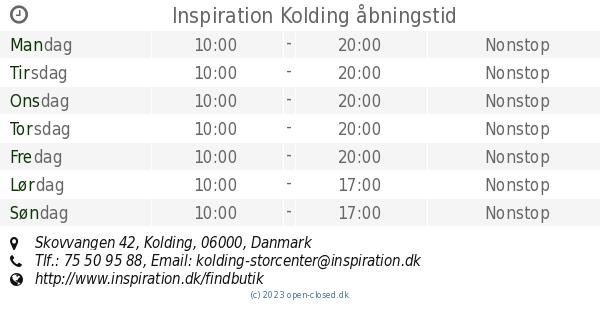 inspiration kolding Inspiration Kolding åbningstid, Skovvangen 42 inspiration kolding