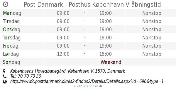 Åbningstider Post Danmark - Posthus, København V
