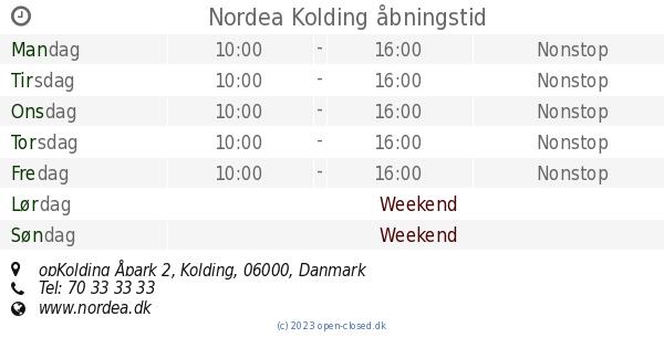 nordea kolding åpark åbningstider