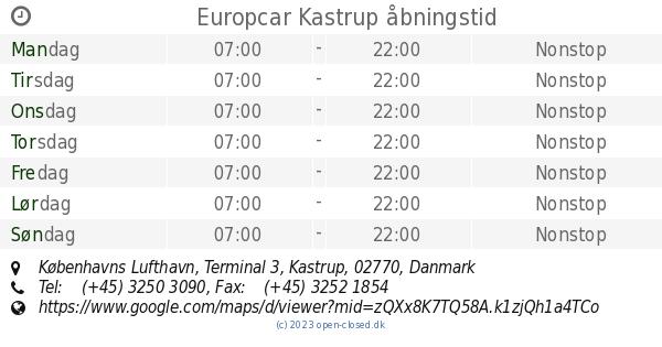 europcar kastrup lufthavn telefon