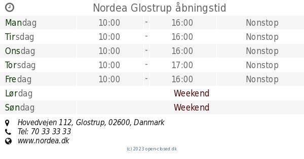 nordea glostrup åbningstider