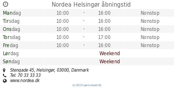nordea helsingør åbningstider