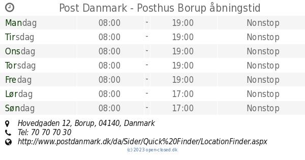 Åbningstider Post Danmark - Posthus, Borup Hovedgaden 12