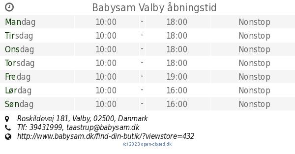 Babysam Valby åbningstid Roskildevej 181
