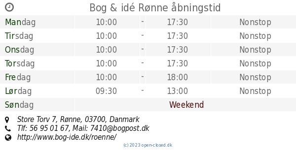 Bog Idé Rønne åbningstid Store Torv 7