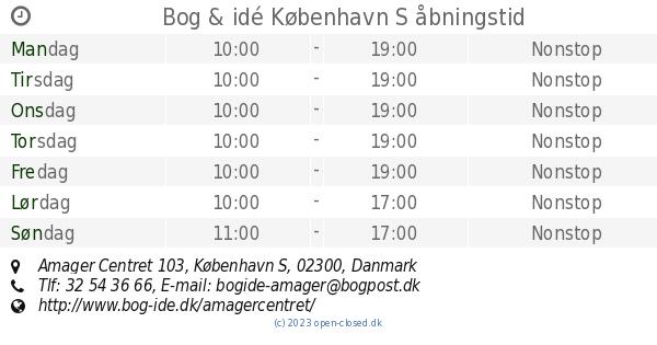 Bog Idé København S åbningstid Amager Centret 103