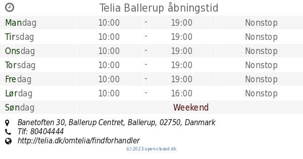 Telia Ballerup åbningstid 5bce7e045a551