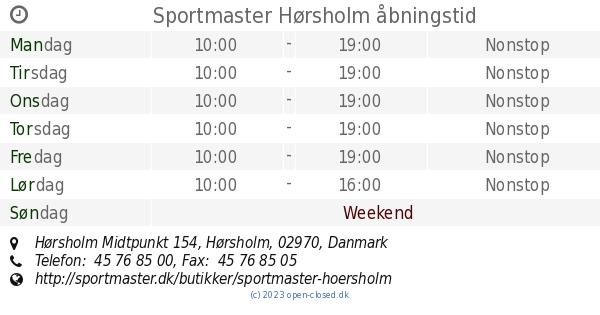 sportmaster hørsholm åbningstider