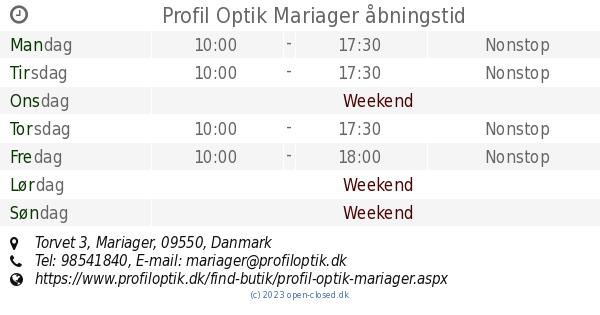 089be86b2b1c Profil Optik Mariager åbningstid